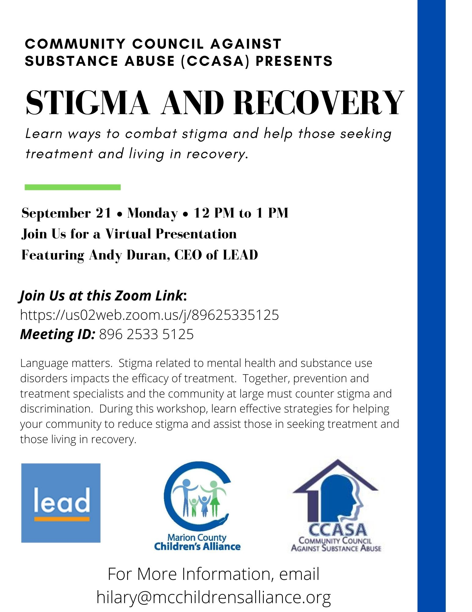 September 2020 CCASA Flyer - Recovery and Stigma